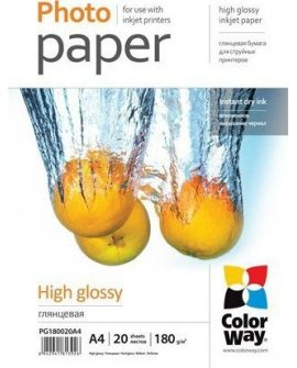 ColorWay ColorWay High Glossy Photo Paper,180g/m, 20 sheets, A4, PG180020A4