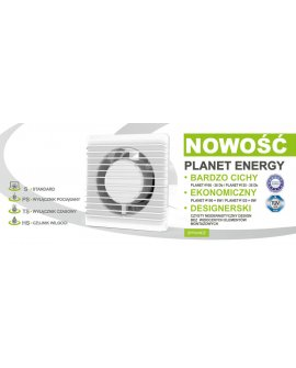 airRoxy Ventilators ścienny 100mm 8W Planet Energy, 01-090